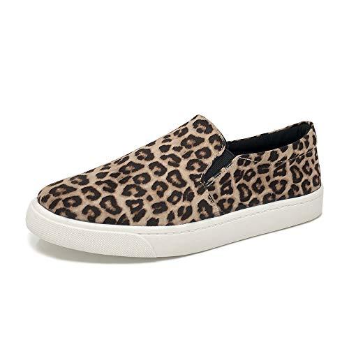 Soda Women's Reign Slip-On Sneakers (6.5 M US, Oatmeal Cheetah)