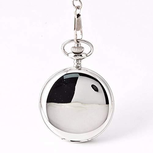 HBDML Reloj de Bolsillo 2019 Pocket Watch Gold Gear Retro Large Pocket Watch Silver Mechanical Two Faced,Silver