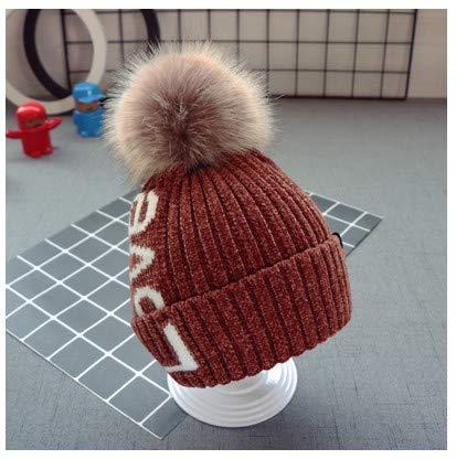 mlpnko Sombrero de Lana para niñas, Sombrero para niños, Gorras Tejidas para Hombres, Bola para el Cabello del bebé, Sombrero cálido, Color Caramelo, Ajustable