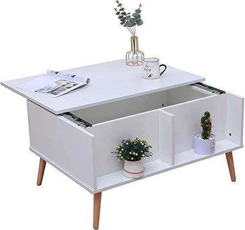 Mesa de Centro de salón de diseño único con Patas de Madera y Compartimento de Almacenamiento Muebles de Oficina (Estilo 2)