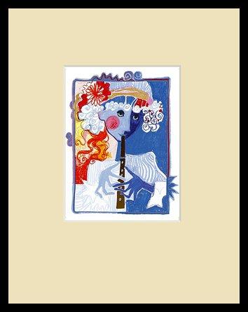 Rosina Wachtmeister Golden Flute (Sand) Poster Bild Kunstdruck im Alu Rahmen in schwarz 30x24cm