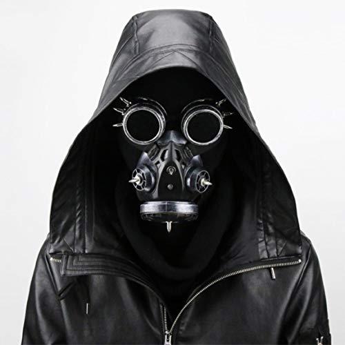 Mscara de Gas con Gafas Soporte de Accesorios de Halloween Disfraz Steampunk Gtico Cosplay Retro Mscara de Metal,Plata