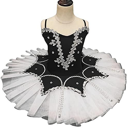 ZYLL Niña Vestidos de Baile de Ballet, corsé Camisola Vestido de tutú Lago de los cisnes Trajes de tutú para niños de Rendimiento,Negro,100CM