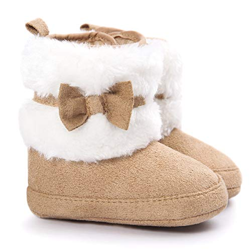 LIVEBOX Baby Girls' Premium Soft Sole Bow Anti-Slip Mid Calf Warm Winter Infant Prewalker Toddler Snow Boots (S: 0~6 Months, Khaki 1)