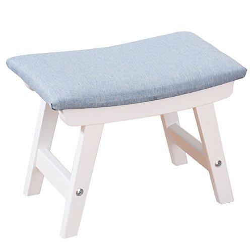 Houten voetsteun van massief hout, creatieve pijnen, kruk, slaapkamer, meubels, hout, commode, kruk, outdoor bank, 38 x 24 x 29 cm, geschikt voor thuis Blauw