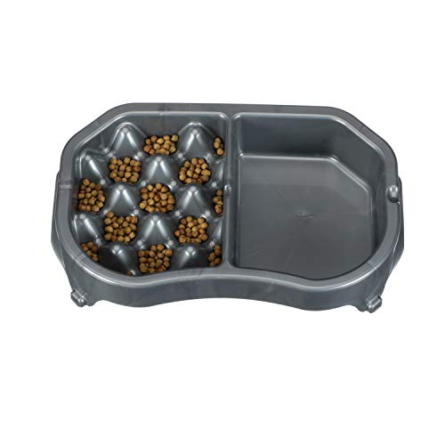 Neater Pet Brands - Neater Slow Feeder - Fun, Healthy, Stress Free Dog Bowl Helps Stop Bloat Prevents Obesity Improves Digestion (Double Diner, Gunmetal)