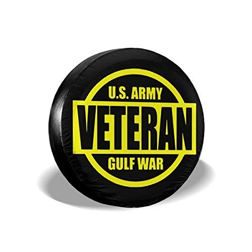 GOSMAO Fundas para neumáticos para fanáticos de los Deportes, ejército de EE. UU, Veterano de la Guerra del golfo, Cubierta para neumáticos de Rueda de Repuesto, Apta para remolques, 16 Pulgadas