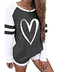 - Features: Yoins ladies tops plain long sleeve top for women, round neck with stripe pattern t-shirt make you like charming and energetic. - Sport Style: Loose baggy baseball tshirt color block design top graphic tee love pattern tshirt for women la...