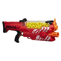 This version comes in simple brown packaging Fully motorized Hopper feed – high capacity Choose red or blue to battle as Team Red or Team Blue Experience ultimate precision and intense competition Includes blaster, 100 rounds, and instructions