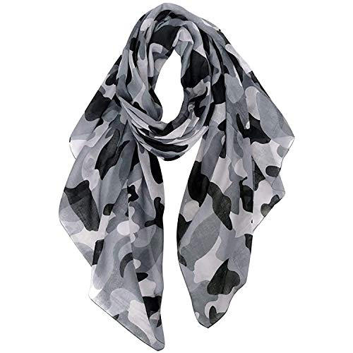 GERINLY Scarves - Lightweight Travel Scarf Camouflage Print Shawl Wrap (Blackgray)