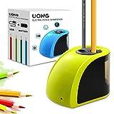 Uong - Temperamatite elettrico, automatico, doppio foro, 2 vie, con lame di ricambio e cacciavite incluso, per aule, ufficio, esterni, colore giallo