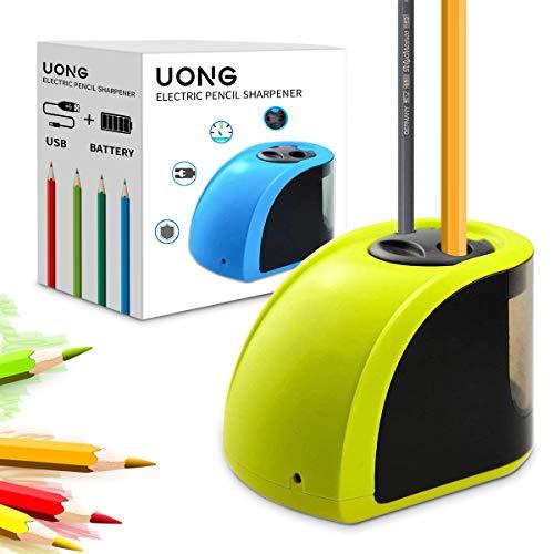 Uong Elektrischer Anspitzer, Batterie/Strom betrieben Elektrischer Bleistiftspitzer Automatische Anspitzer mit Ersatzklingen und Schraubendreher für Klassenzimmer Office Sketching (Gelb) …