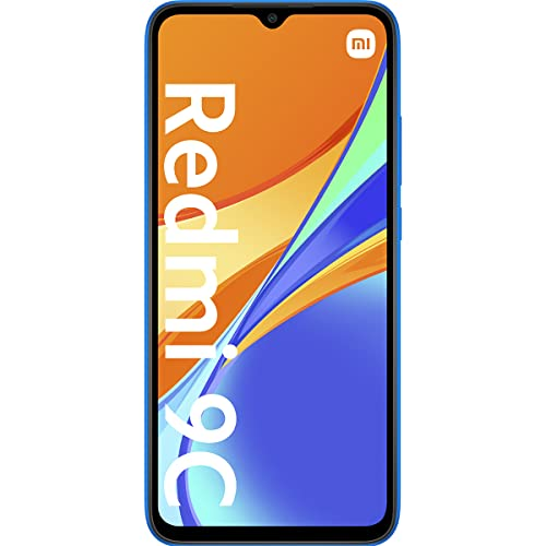 Xiaomi Redmi 9C Smartphone, 2 GB + 32 GB, 6.53' HD+ Dot Drop Display 5000mAh (typ), 13 MP, con AI Face Unlock, Tripla Fotocamera, Blu (Twilight Blue)