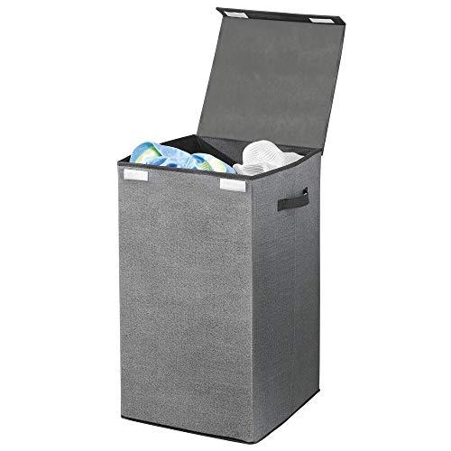 mDesign Cesto para ropa sucia en polipropileno transpirable – Cubo para colada plegable para lavadero – Bolsa para guardar ropa con aspecto de fibra natural – Con tapa y asas – gris con bordes negros