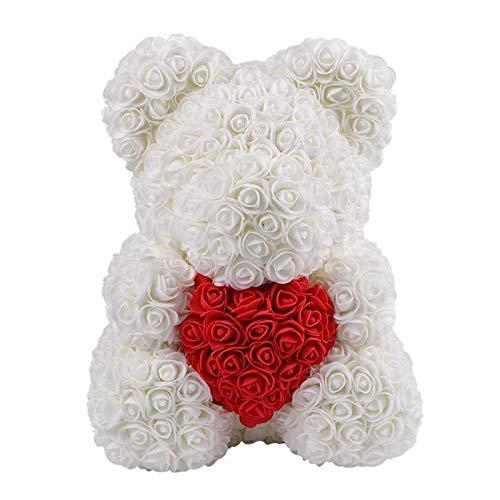 Blanc Romantique Cadeaux pour Mariage Anniversaire Saint Valentin Anniversaire Delisouls Artificiel Rose Nounours Ours 40cm Simulation Fleur C/œur Amour Mousse Rose