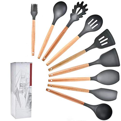 Yannn Silicone Cooking Utensils Set Heat Insulation Kitchenware for Kitchen Non-Stick Cooking Tools Set Spatula Shovel Turner 9 Sets
