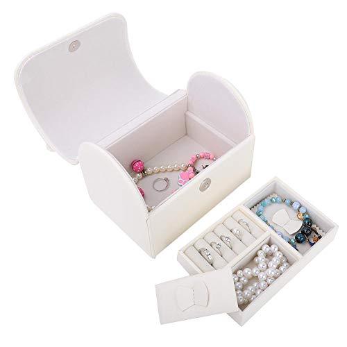 Qkiss Sieradendoos met twee lagen, voor sieraden, opbergdoos van PU-leer, juwelendoosje