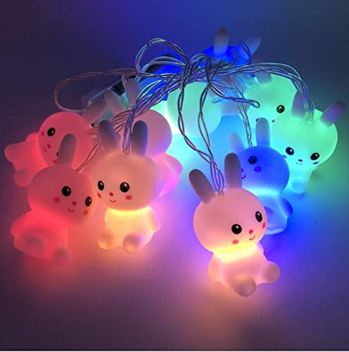 TTSM LED Easter Bunny String Lights Garden Room Window Party Holiday Decoration Pendant (Batteries not Included) (A)