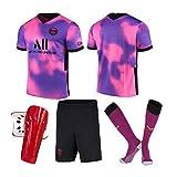 MILAOSHU Camiseta de Fútbol,Rosa Púrpura Camiseta de Fútbol,Uniformes de Fútbol para Adultos y Niños Camiseta Corta Pantalones Cortos Calcetines