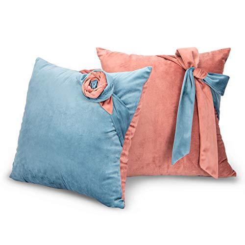 Tayis Juego de 2 fundas de almohada decorativas de dos colores de felpa suave de terciopelo de lana corta para sofá, sala de estar, dormitorio (rosa, marrón y azul)