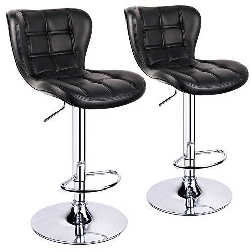 Leader Accessories Barhocker (2er-Set) Schalensitz Barstuhl mit Lehne stylischer Tresenhocker höhenverstellbar 62-82cm Drehstuhl 360 Grad Bezug aus Kunstleder schwarz