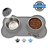 Canple Dog Bowl Stainless Steel Dog Bowls Food Water Pet Feeder with No Spill Non-Skid [Strong Suction Cup] Silicone Mat Waterproof for Pets Small Medium Large Dogs (54 OZ, Grey)