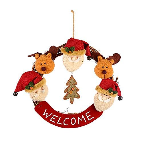 humeng Weihnachtsschmuck Weihnachtskranz Land Holz Rattan Weihnachtsdekoration Puppenkopf Schneemann Weihnachtskranz Rattan Kreis @ Santa Hirsch Rebe