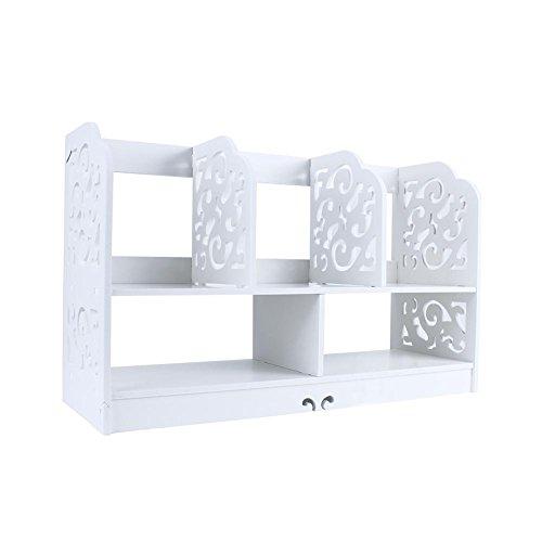 Uitla Bureaukast, plank voor kasten, boekenkast, van hout, om zelf te maken, boekenkast, klein op tafel voor studenten, bureau, 35 x 21,5 x 60 cm, wit