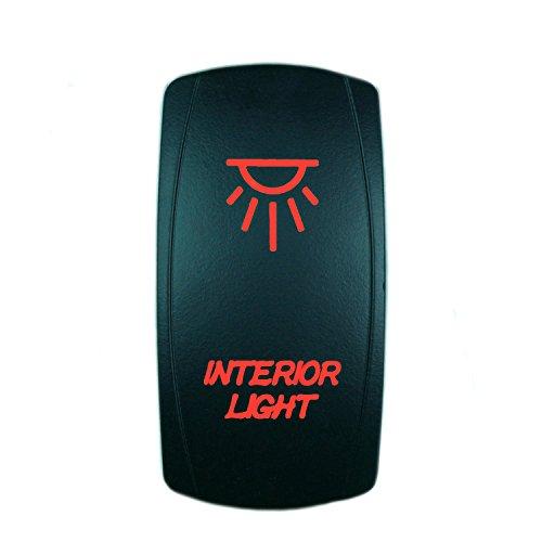 QUNQI STAR 5 pin Laser Backlit Rocker Switch INTERIOR LIGHT 20A 12V On/off LED Light Toggle Switch (Red)
