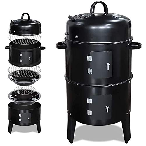 WLHER Vertical Charcoal Smoker, with Heat Control, 2 Cooking Rack, Smokey Mountain Round BBQ Grill, Ideal for Outdoor Events Like Party Bonfires Family Barbecues for Camping