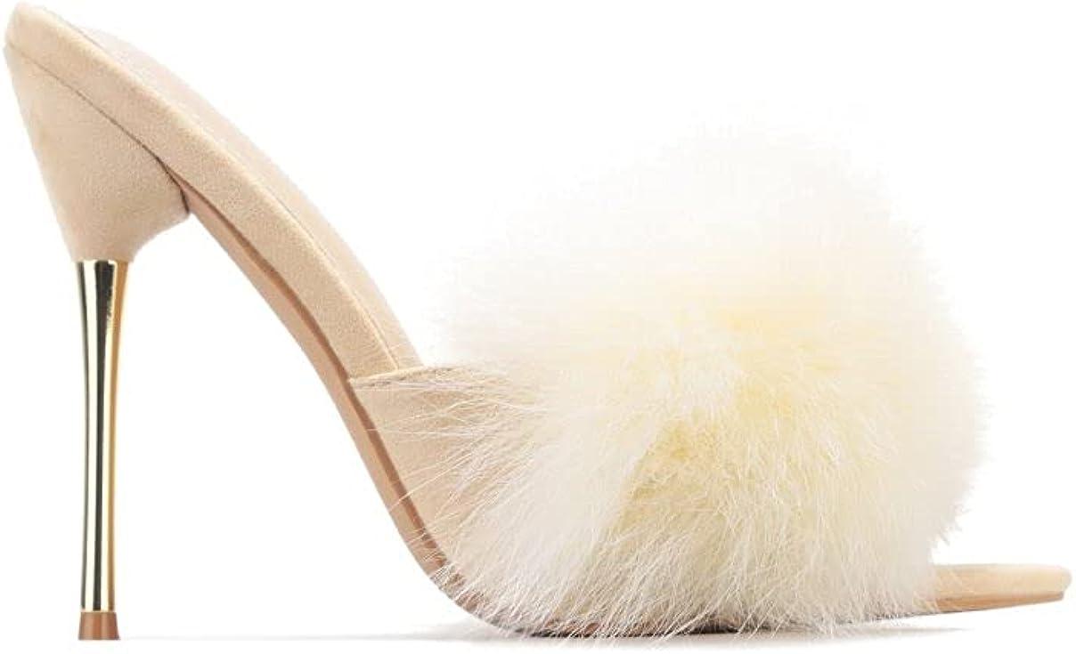 Cape robbin Fuji Faux Fur Open Pointy Toe Stiletto Mule Heel Sandal-Open Peep Toe Stiletto High Heels Sandals for women