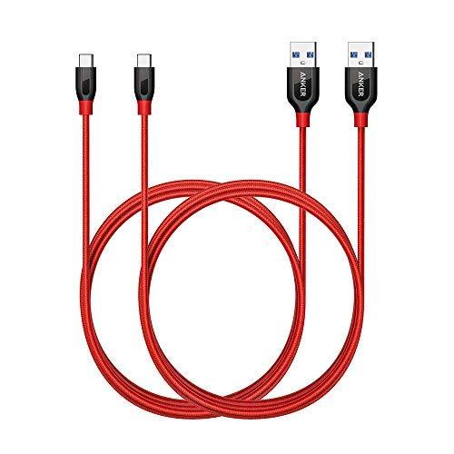 【2本セット】Anker PowerLine+ USB-C & USB-A 3.0 ケーブル (1.8m×2 レッド) Galaxy S9 / S9+ / S8 / S8+、iPad Pro (2018, 11インチ) / MacBook / MacBook Air (2018)、Xperia XZ1 その他Android各種、USB-C機器対応