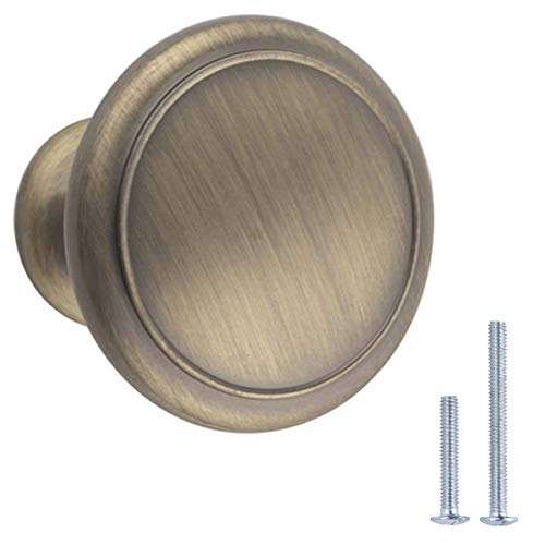 Amazon Basics – AB1200-AB-25 Möbelknäufe, Durchmesser 2,95cm, Messingoptik antik