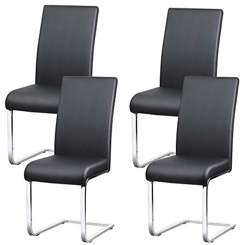 Yaheetech Freischwinger stühle 4er Set, Schwingstühle 4er set, mit Rücklehne, 135 kg belastbar