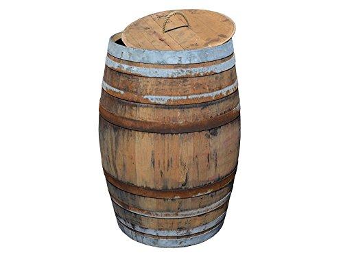 Temesso Regentonne, Regensammler, Weinfass Barrique aus Eiche 225 Liter - rustikal (Regenfass offen + Deckel Kordel)