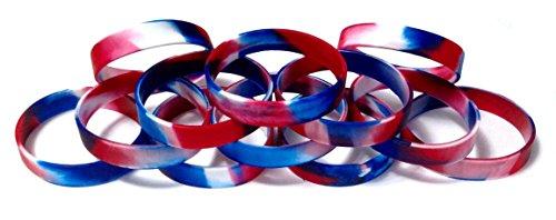 TheAwristocrat 1docena de abono en Gotas en Blanco Caucho de Silicona Pulseras Pulseras–Seleccione de una Gran Variedad de Colores, Rojo Blanco y Azul (Red White & Blue Swirl)