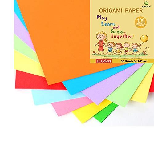 Papel de origami cuadrado de papel de 24 libras hecho a mano, 10 colores, 10 x 10 pulgadas, 100 hojas