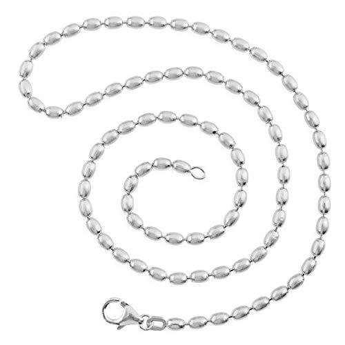 Drachenfels Olivekette in Echtsilber | Olive-Kette für Anhänger | Halskette aus 925 Sterling Silber | Karabinerverschluss | Länge 75 cm, Ø 3 mm