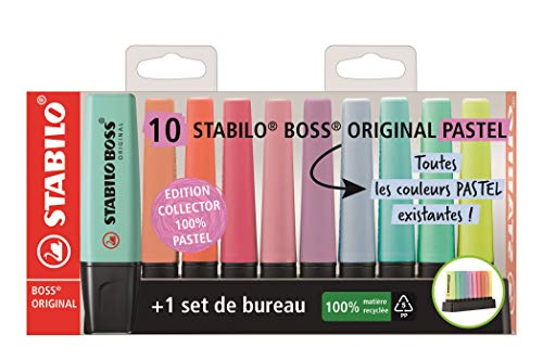 Evidenziatore - STABILO BOSS ORIGINAL Pastel Desk-Set - Edizione 100% PASTEL - 10 evidenziatori