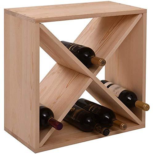 POETRY Estante de Madera para Vino Estante de exhibición de Vino Elegante y Moderno Estante de Almacenamiento de Vino Independiente Utilizado para Estante de Almacenamiento de Mesa Cuadrada de 2