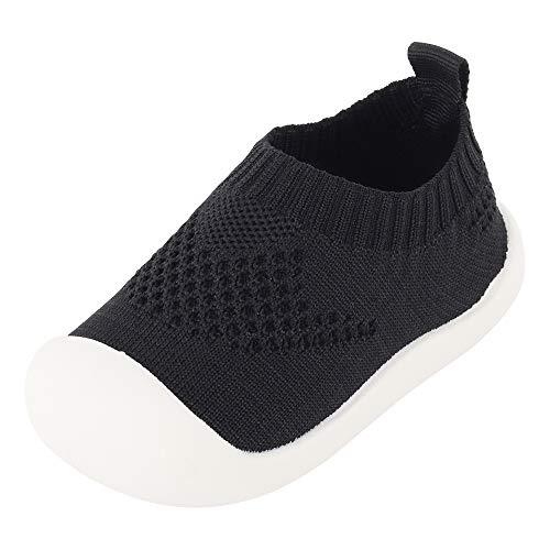 Bebé Infante Niñas Zapatos de Primeros Pasos Zapatillas de Volar Tejida Sneaker Slipper para Pies Anchos Antideslizante Respirable Ultra-Ligero - Rosa Viejo