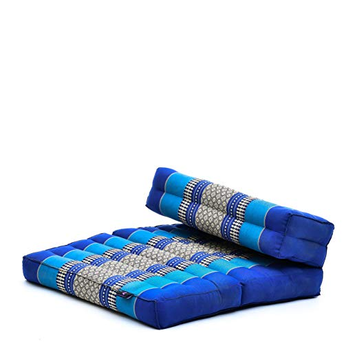 LEEWADEE Cuscino da Meditazione: Seduta Pieghevole per Yoga, Cuscino per meditare, attrezzo da Pavimento in kapok Ecologico Fatto a Mano, 54 x 72 cm, Blu