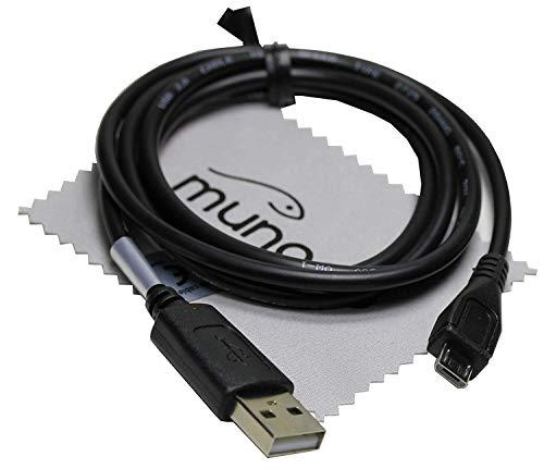 USB Datenkabel Daten Kabel 1m für Sony Cyber-Shot DSC-WX350, DSC-WX500, DSC-RX100 V, DSC-RX100M2, DSC-RX100M3, DSC-RX10, DSC-RX100M4, DSC-RX100M5, Sony NEX-5T mit mungoo Displayputztuch