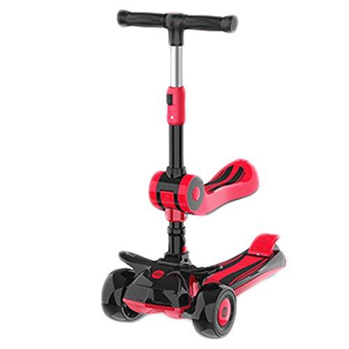 Scooters para Niños Scooter liviano y sensible de 3 ruedas para las luces LED de las ruedas para niños, el manillar ajustable de la inclinación, sentarse o soportar el paseo con freno Antideslizante S