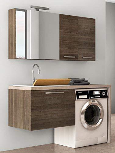 Meuble de buanderie marron foncé avec meuble et miroir – L. 138 x P. 63 x Top en bois avec lavabo en polytek