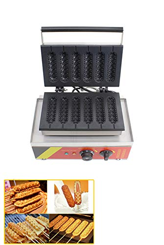 Hanchen NP528 Waffle Maker Commercial Electric Non-stick Lolly Hot Dogs Stick Baker Corn Toaster Machine Iron Sausage Muffin with 2 Shapes 140(Length)*38(Width)*38mm(Thickness)