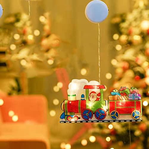 Luz Colgante navideña para Ventana Tienda Luz LED Creativa Ventosa Luces Colgantes Adornos navideños Lámpara Kit de Diamantes Hogar Año Nuevo Suministros decoración para Fiestas-Tren de navidad
