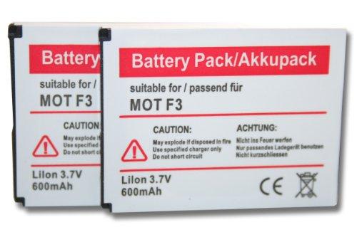 vhbw 2X Li-Ion Akku Set 600mAh (3.7V) für schnurlos Festnetz Telefon Motorola Motofone F3, AVM Fritz! Fone MT-F, M2 wie 312BAT006, 100402.