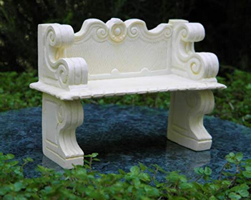 NIMIBOD - Fairy Gardens Accessories, Statues and Lawn Ornaments Supplies for Miniature Dollhouse Fairy Garden Furniture ~ Ivory Victorian Bench ~ New DIY for Miniature Fairy Garden Accessories