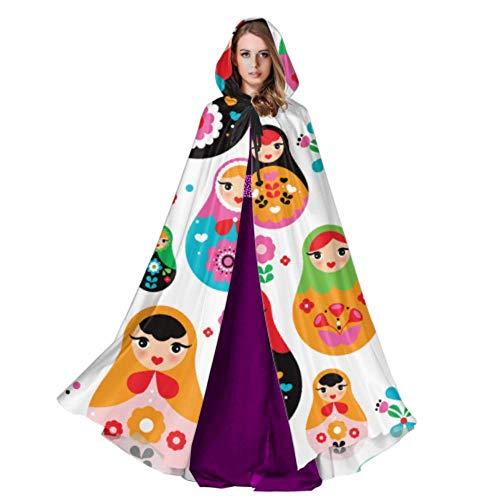 Yushg Russische Puppe Matroschka Folk Damen Mantel Cape Cape Kapuzenmantel 59 Zoll Für Weihnachten Halloween Cosplay Kostüme